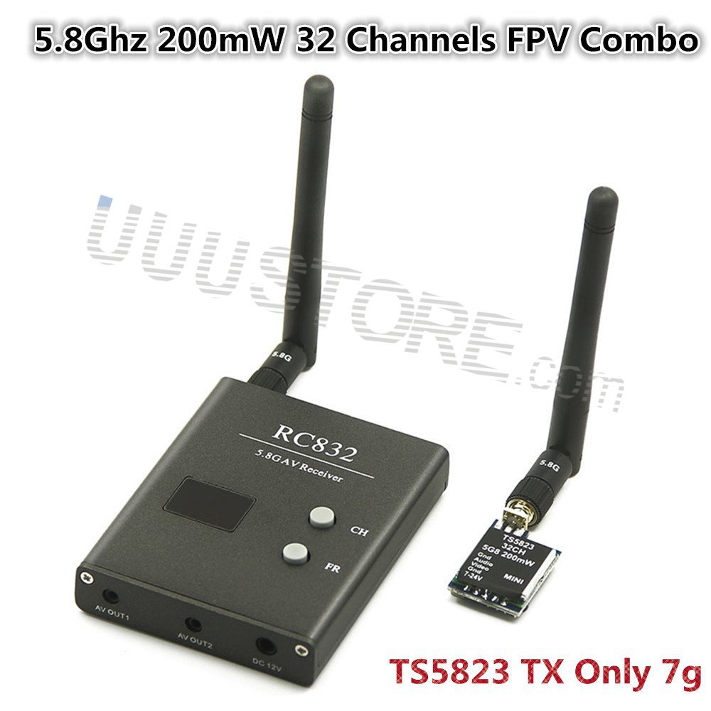 FPV 5.8Ghz 200mW 32 Channels Wireless Video transmitter and receiver TS5823+RC832 Tx &amp; Rx Set for aircraft DJI Phantom Gopro <br><br>Aliexpress