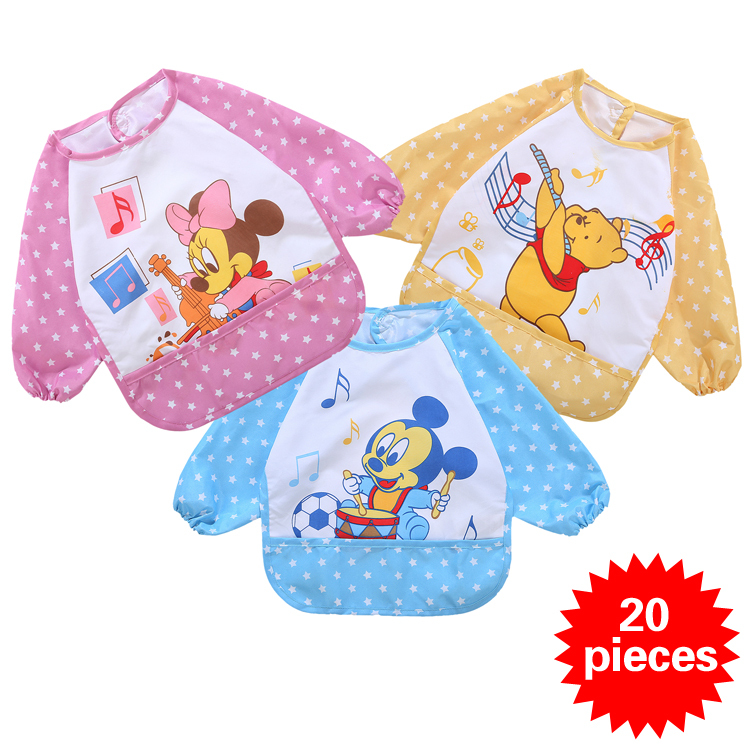 20 pieces Free shipping Cartoon Baby Bibs Infant Waterproof burp cloths Kids overclothes/Baby Clothing /Baby wear/Infant Garment(China (Mainland))
