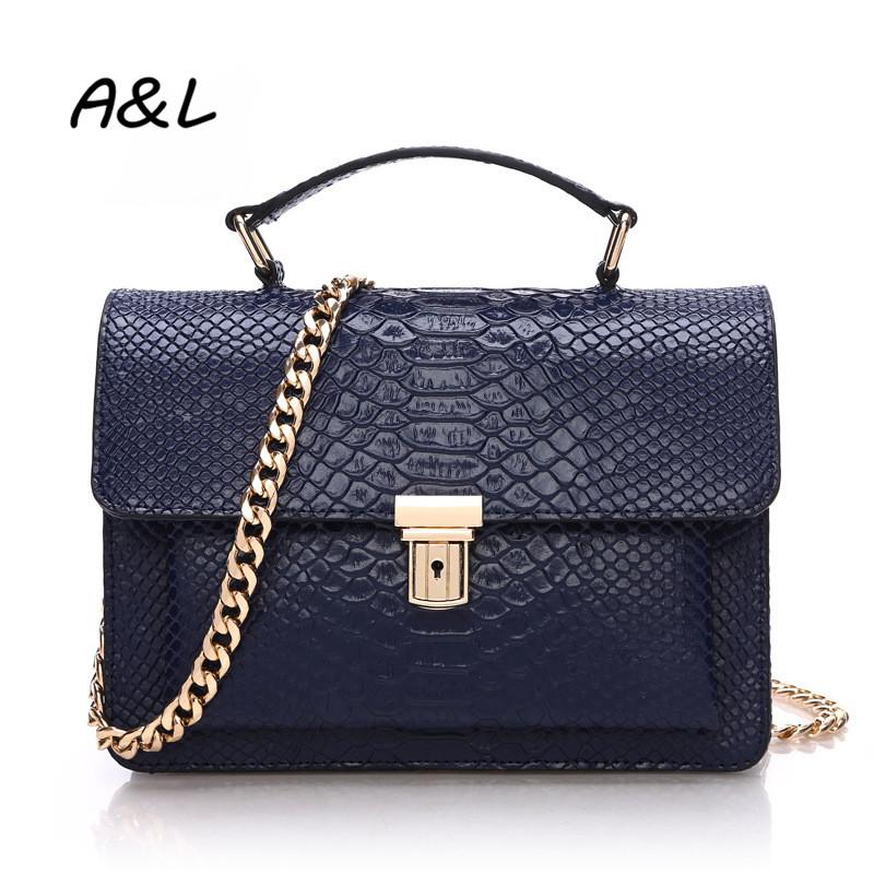 2016 Women Genuine Leather Chain Handbag Luxury Brand Shoulder Messenger Bag Lady Fashion Snakeskin Pattern Crossbody Bag A0043(China (Mainland))