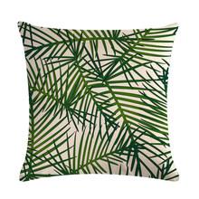Tropical Leaf Printed Cotton Linen Cushion Cover Tropical Umbrella Home Decor Pillowcase Octopus Sofa Bedding Cushion Case(China)