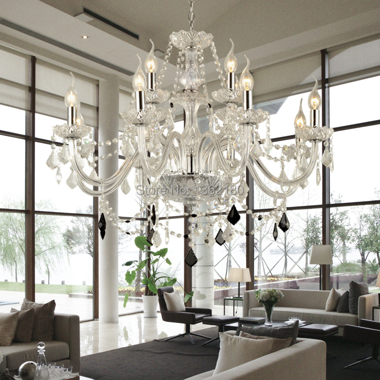 Large 12 Bulbs European Candle Crystal Chandeliers Ceiling