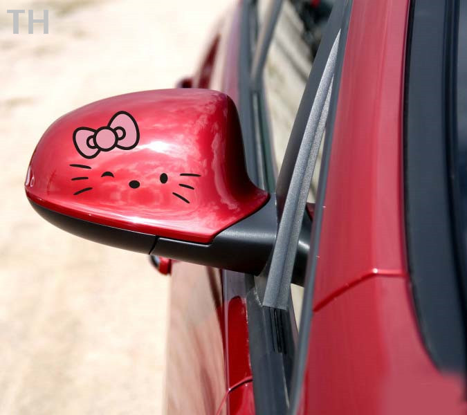 hello kitty car accessories lovely rearview mirror stickers 14cm*11cm benz vw pink(white/white) 100%new(China (Mainland))