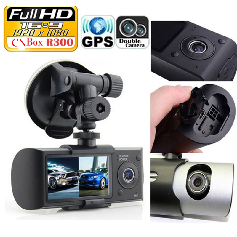 """Dual Camera Car DVR R300 with GPS and 3D G-Sensor 2.7"""" TFT LCD X3000 FHD 1080P Cam Video Camcorder Cycle Recording Digital Zoom(China (Mainland))"""