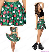 New Green Tennis Short Skirts High Waist Pettiskirt Flared Pleated Dance Skirts Summer Saia Sweet Miniskirt Rose Flower Print