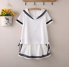 2015 new Hot Japanese Sailor Collar White Shirt harajuku t shirt women cosplay costume Top Double Layered Skirt Kawaii girl Set