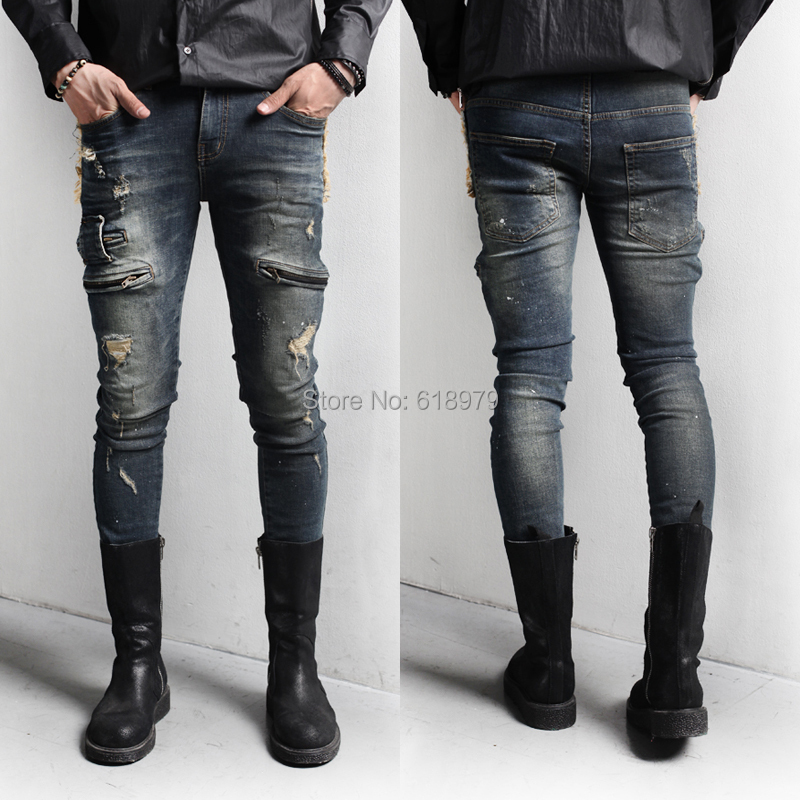 2014 winter new punk zipper skinny jeans men designer cool hip hop kanye west ripped denim biker destroyed pants distressed - ifashion Shopping Mall store