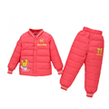 2016New Style Middle Children Winter Down Coat Baby Boy Girls Warm Thick Clothing Set Character Fashion