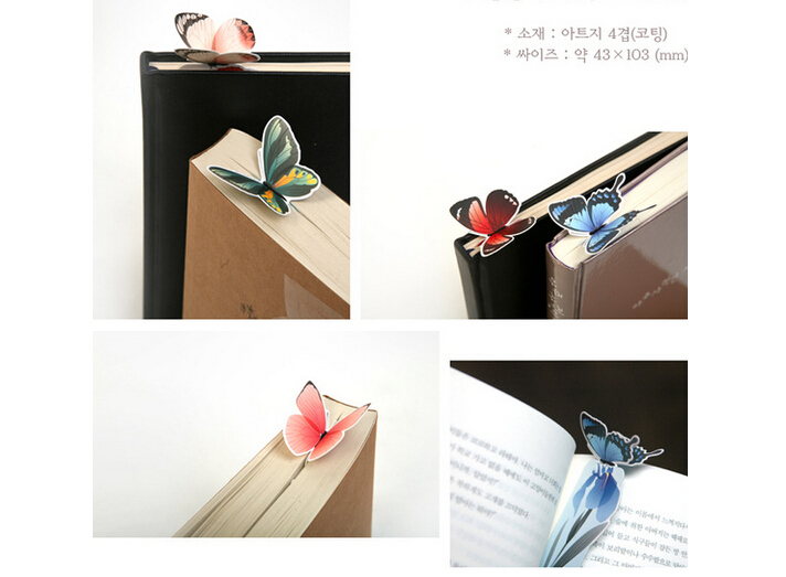 Best price Korea stationery Korean cute butterfly bookmark exquisite gift paper bookmark bookmark Animals 420pcs(China (Mainland))