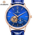STARKING New Swiss Men Mechanical Wristwatches Skeleton Tourbillon Analog Automatic Genuine Leather Famous Brand Blue Watch