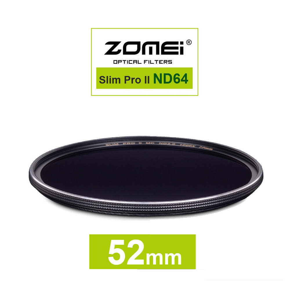 New Zomei 52mm Ultra Slim ND64 ND1.8 64X 6 Stop Exposure Sliver Rimmed Glass Neutral Density ND Filter for Canon Nikon Sony lens(China (Mainland))