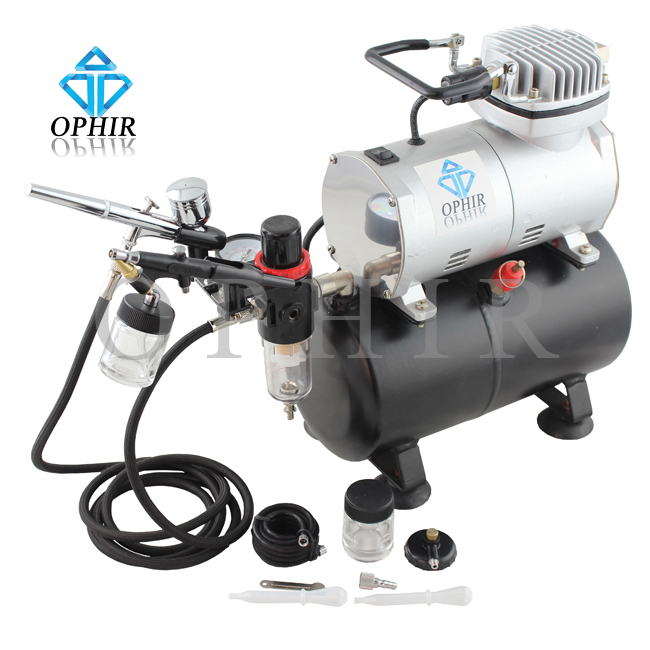 OPHIR 2 Airbrush Paint Tank Compressor Kit 0.3mm 0.8mm for Cake Decoration Nail Art Makeup Tatto 110V,220V_AC090+AC004A+AC071(China (Mainland))