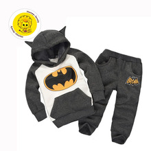 Free shipping winter children's boys clothing suits batman kids set hooded boy + pants children sports suit clothes set retail