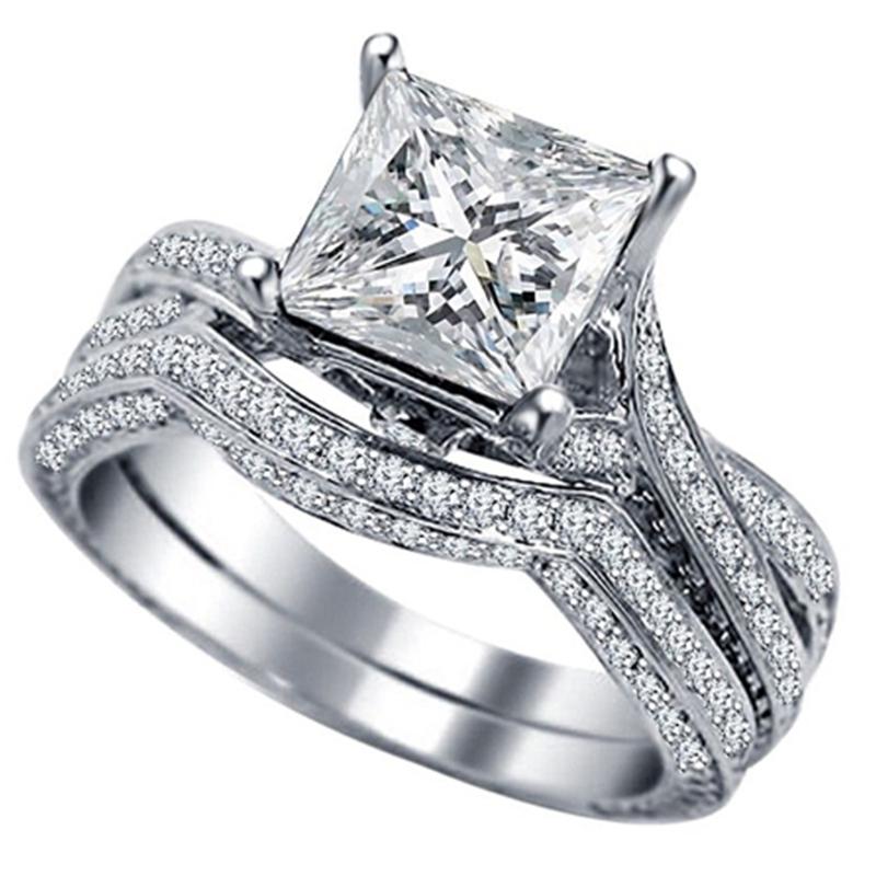 Size 5 11 925 Sterling Silver Princess Cut Stone Crystal Gems Wedding Engagem