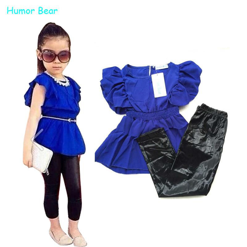 Humor Bear girls clothes fashion summer children girls clothing sets blue shirt dress black leggings cool