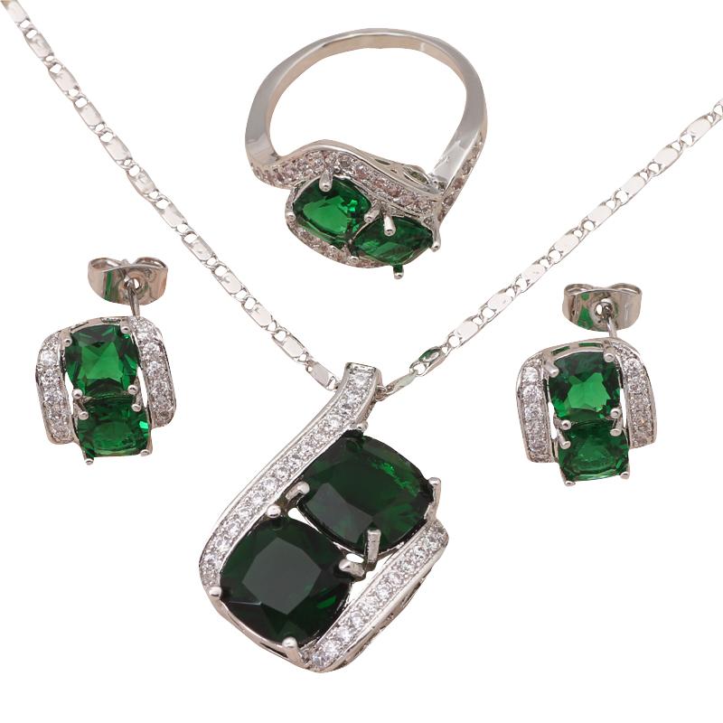 Женщины аксессуары Peridot мода ювелирных изделий заполненные темно-зеленый кристалл серьги ожерелье кольцо Sz # 6 # 7 # 8 # 9 # 9.5 JS565 peridot london
