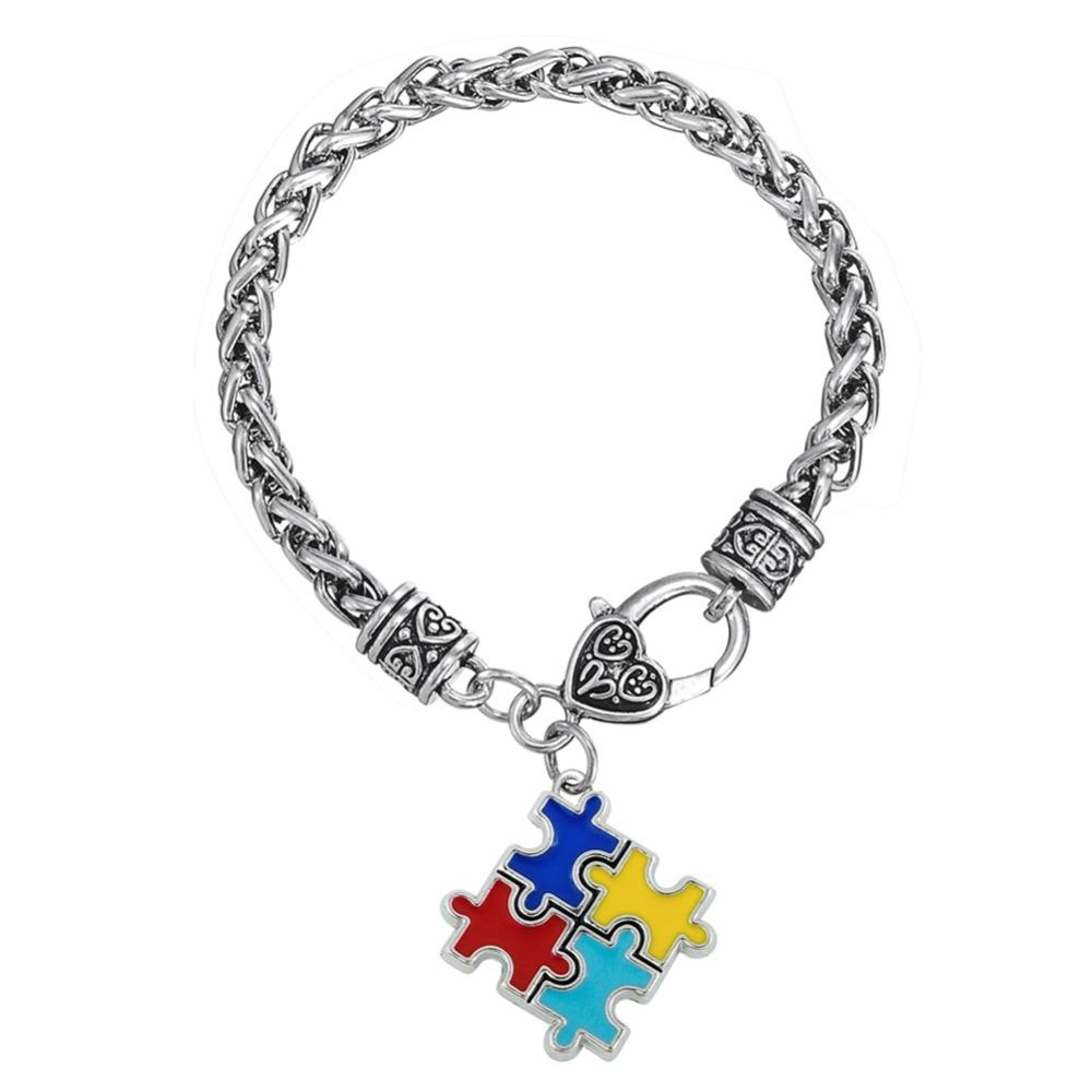 Skyrim Bracelets & Bangles Zinc alloy Enamel Autism Awareness Puzzle Piece  Autistic charm bracelet