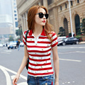Summer Short Sleeve Red Polo Striped Tops For Women Causal Plus Size Polo Woman camiseta polo