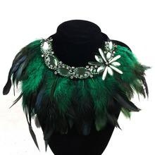 Fashion Feather Ribbon Rhinestone Flower Pendant Necklace Women Crystal Choker Statement Necklace False Collar Bijoux Collier(China (Mainland))