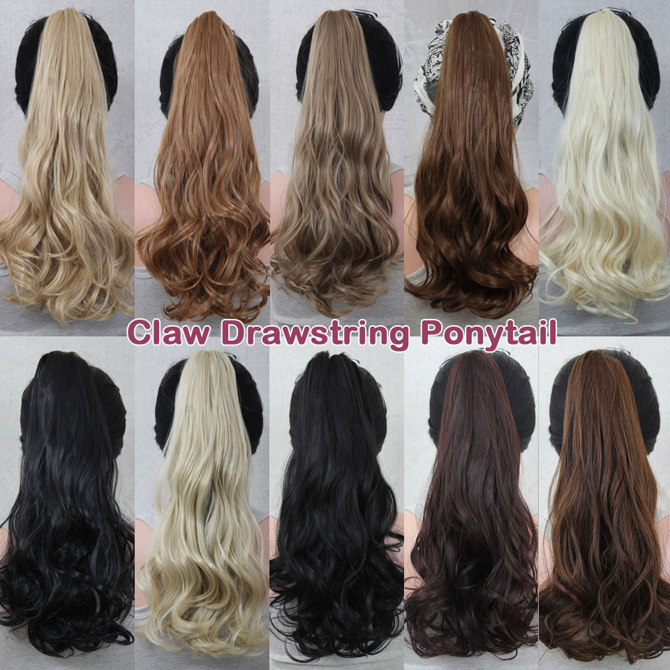 Synthetic Claw Drawstring Ponytail 21inch 140g Long Wave Hair Extension Blond Pony Horse Tail Fake Hair Pad Tress Hairpiece(China (Mainland))