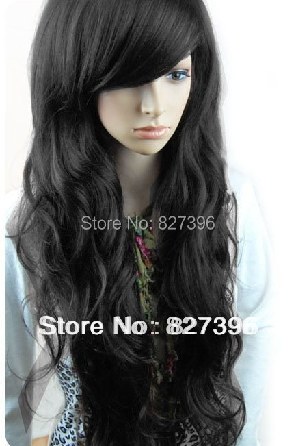Free shipping Fashion synthetic hair wigs Long curly Big wave Black, Dark and Light brown color(China (Mainland))