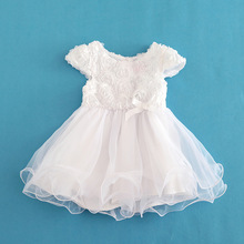 Baby Girl Bows Dresses White Summer Organza Christening gown Girls' Dress Vestidos Infantis 5 Layered Party Dress Girls Clothing