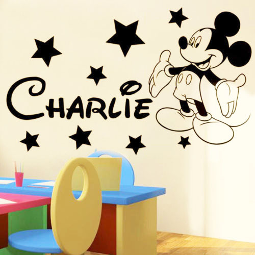 Custom English name stars Mickey Mouse children's room bedroom wall stickers decorative PVC customized P674 trade - Cecilia Yip Store store