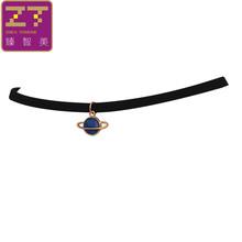 Moda Maxi momenty czarne aksamitne skórzane geometryczne koło Planet wisiorki fałszywy kołnierz Chokers naszyjnik kobiety biżuteria 2019 prezent(China)