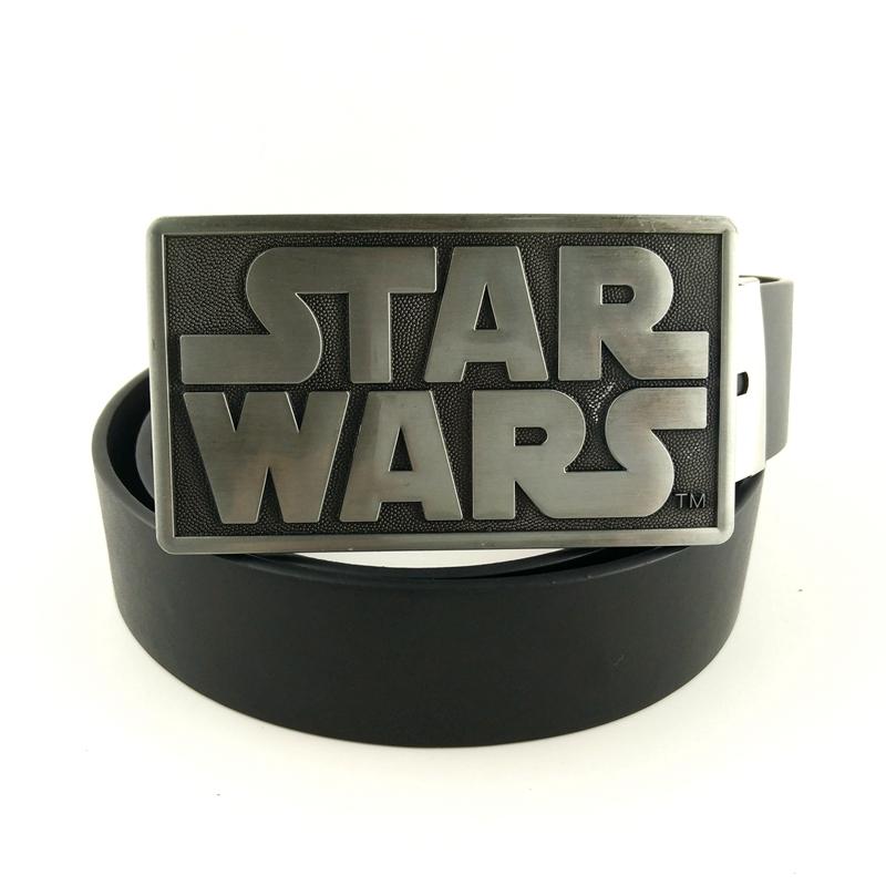 Black PU leather belt for men with big belt buckle metal Star Wars buckle male belt 130cm cowboy belts for jeans(China (Mainland))
