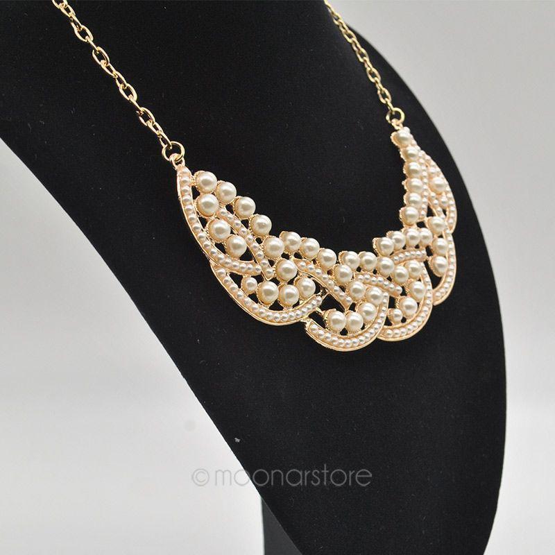 Fashion beads Necklace False Collar Pearl Hollowed Golden ChokerPendant PMHM015 - Women's Beauty Store store