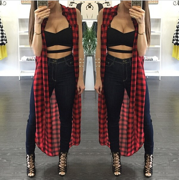 2015 Summer Style Women Tank Shirt Women Long Tops Crop Loose Tee Black With Red Patchwork