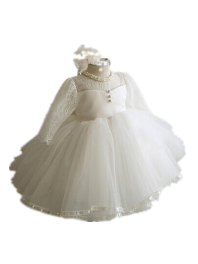 BABY WOW White Kids Flower Girl Dresses Weddings Christmas 1 Year Birthday Dress Baptism Baby Christening Gowns 80107 - LHY baby vestidos store