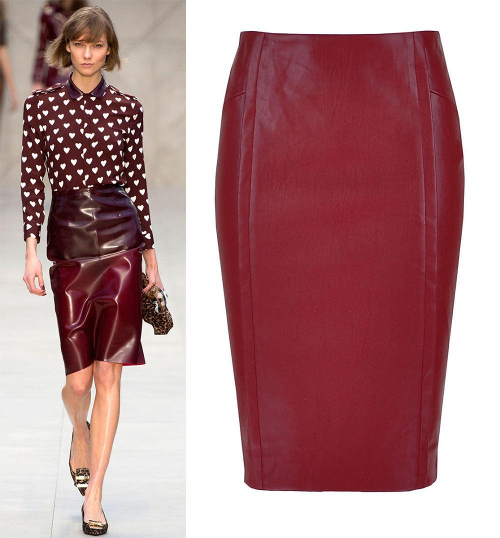 Burgundy Leather Look Skirt - Dress Ala