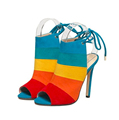 2016 Europestar thin heels spell color sandals seven color rainbow fish mouth sexy shoes