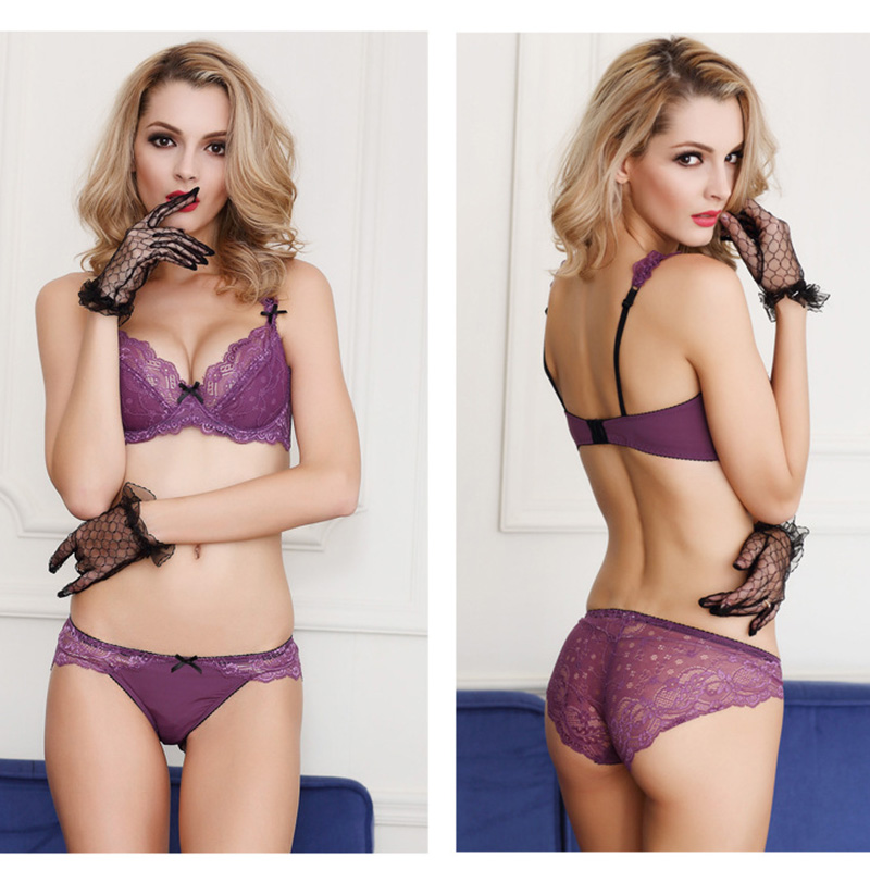 New Goods Women Sexy Bow Shoulder Strap Bra Ultra-thin Lace Adjust Lingerie Deep V Brassiere Embroidery Ladies Underware