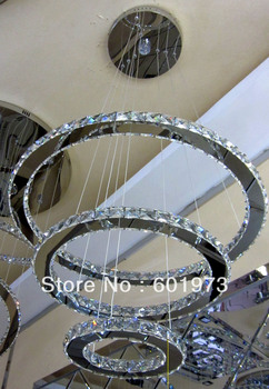 Free Shipping Hot Sell Modern Crystal Lamp with LED Lights Energy Saving Lamp Staircase chandelier (3-Ring) 9209-74+1