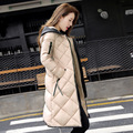 2016 New Fashion Korean Style Long Park Down Jacket Pu Leather Hooded Warm Women Thicken Solid