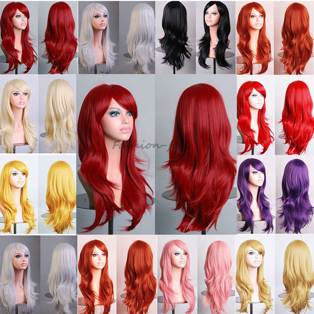 Ladies New Style Long Hair Full Head Wig Natural Wavy Layer Synthetic Wigs Cosplay Costume Play Fancy Dress Hot Sale !!!(China (Mainland))