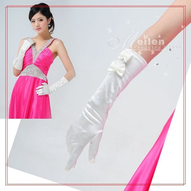 'Meilun nuptial dress' 40 centimeter yellow white color satin face length glove (4324)