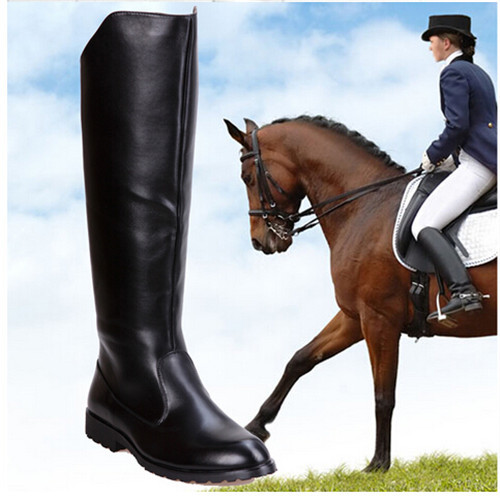 PXELENA Winter New Fashion Round Yoe Martin Riding Boots Mens Military Leather Knee High Equestrian Motocycle Black - Shop639677 Store store