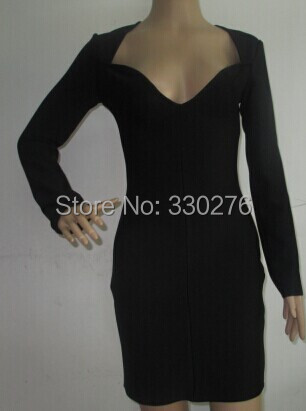 2015 black plung v neck long sleeve bandage dress party prom - Monopoly HL Guangzhou store