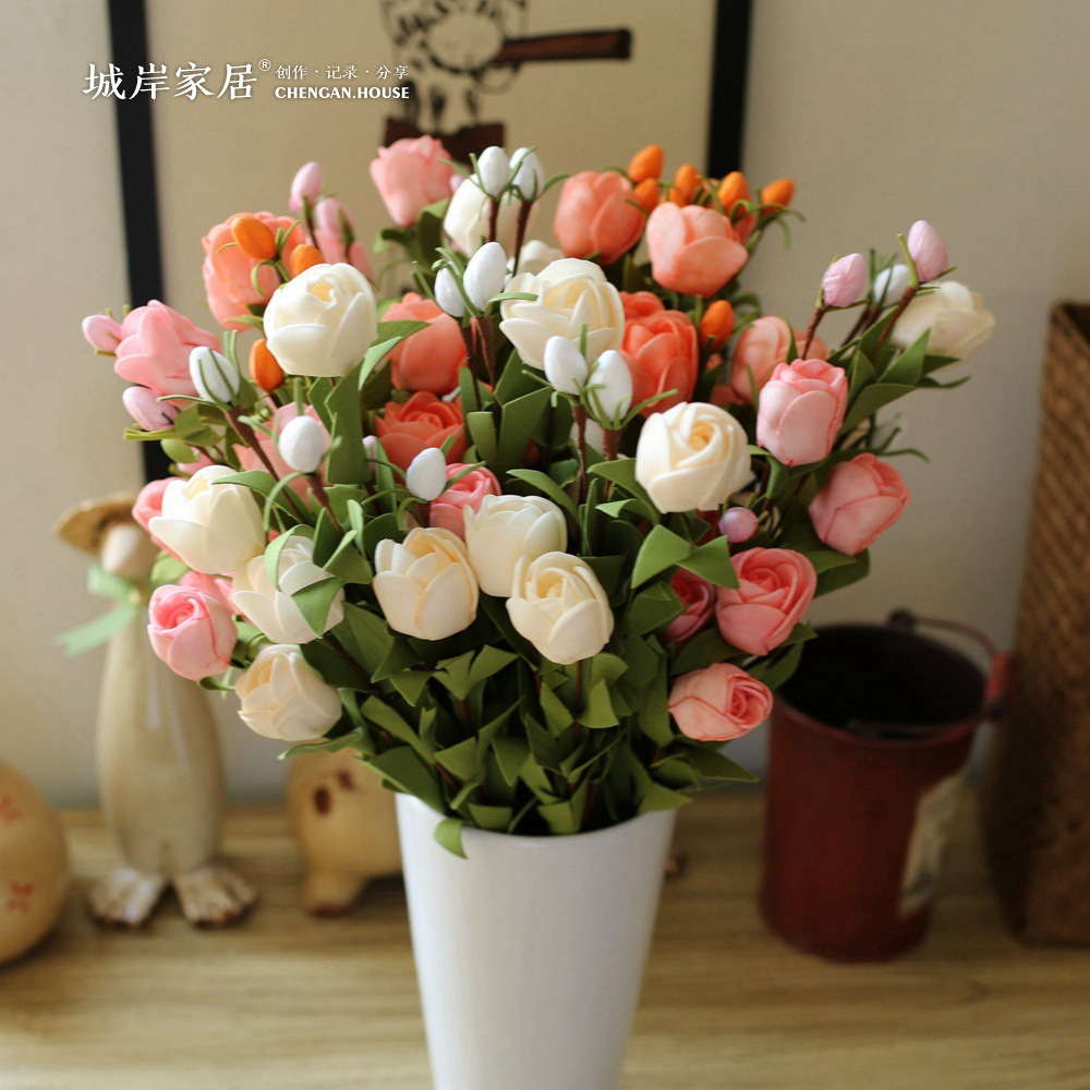artificial foam roses Cheap artificial flower bouquet christmas flower Home Party PE Flower Decorative fake flower For Wedding(China (Mainland))