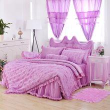 WEDDING brige BEDROOM SET Satin luxury cotton lace bedding bedskirt 5pcs set red pink white purple rose flower lace duvet cover(China (Mainland))