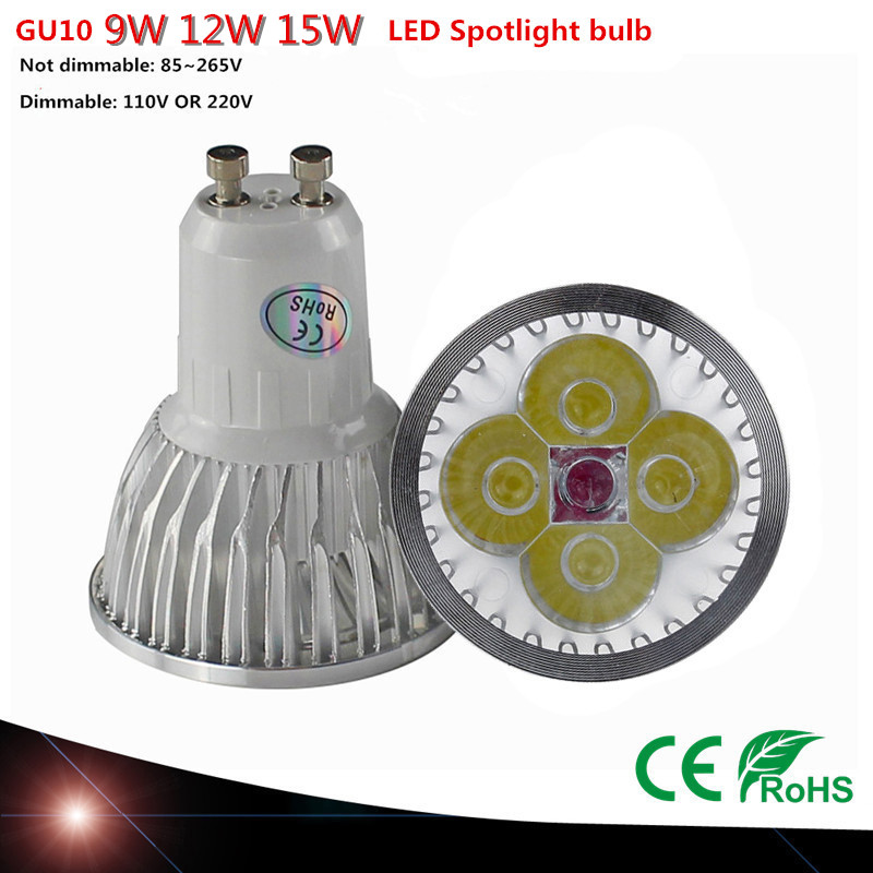LED Spotlight GU10 High power Dimmable led bulb 9W 12W 15W Warm White /Cool white 85-265V Ultra Bright GU 10 LED LAMP(China (Mainland))