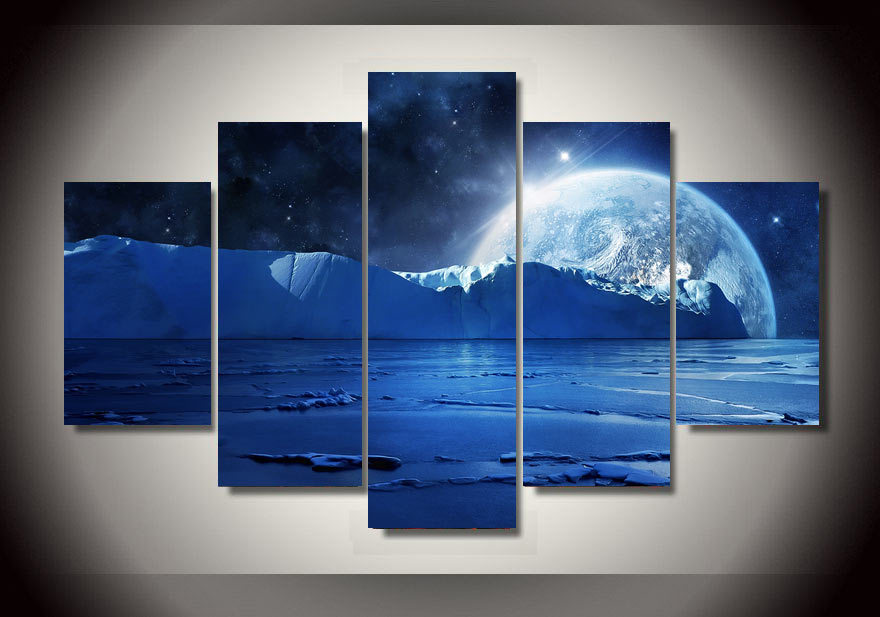 Framed Printed Blue sea ice water cold night planets and stars Group Painting room decor print poster picture canvas/F018(China (Mainland))