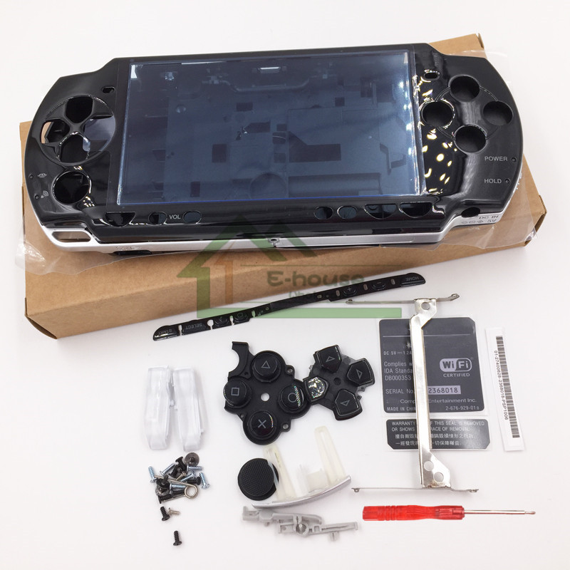 For Sony PSP2000 PSP 2000 Black Color Full Housing Case Complete Shell case Replacement with buttons kit(China (Mainland))