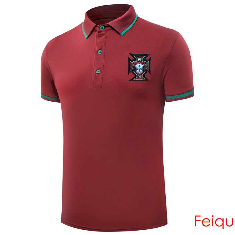 European Cup Portugal Football Soccer POLO Shirt Trainning Exercise Men's Solid Homme Short Sleeve Sport Leisure Polo(China (Mainland))