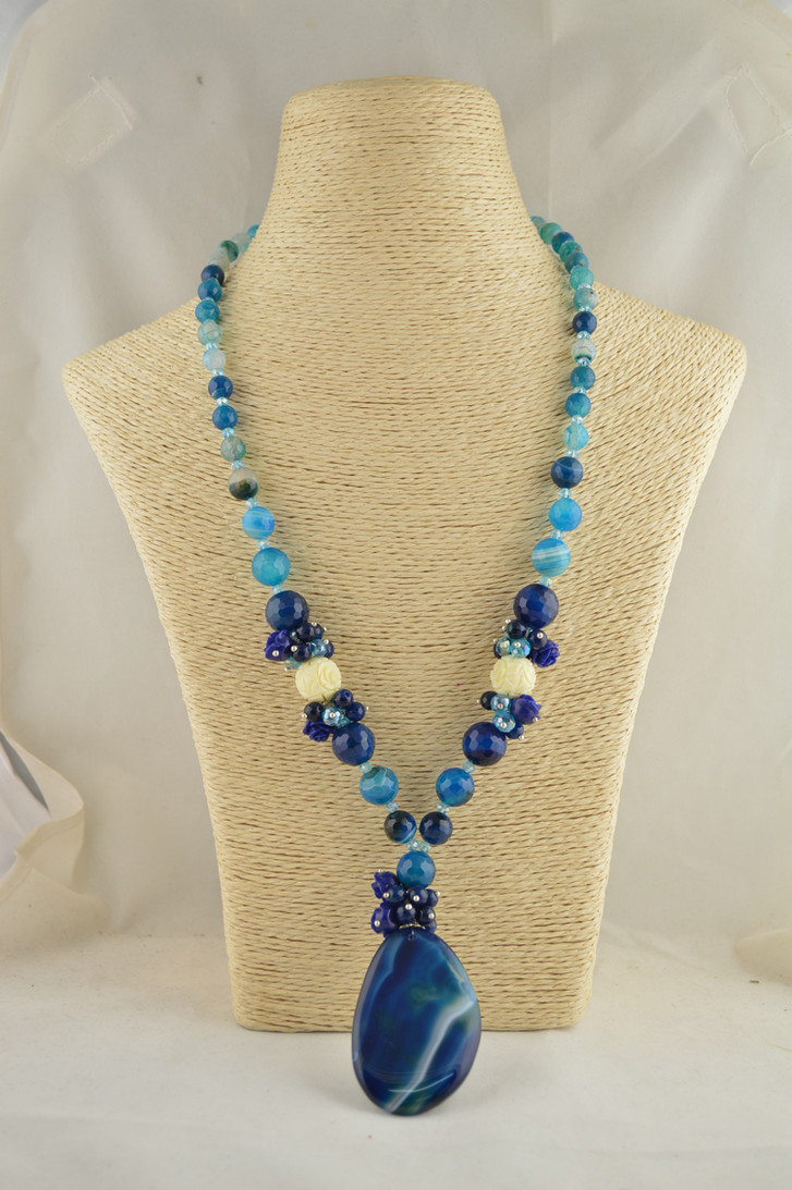 10pcs Blue Color Natural Agate Stone Fashion Women Pendant 24 Jewelry For Sweater Chain Necklace <br><br>Aliexpress