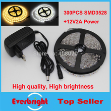 Super bright 5M 300Leds 3528 SMD Led Strip Light DC12V 60Leds/M Fiexble indoor cool white/warm white + power supply apater - Shenzhen Everbright Lighting Co.,LTD. store