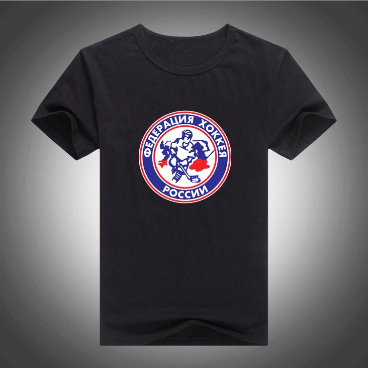 2016 100% Cotton Print T shirt Summer Mens T Shirts Fashion Russia hockey Logo Tees Free Shipping 734(China (Mainland))