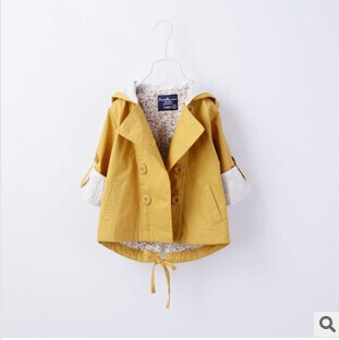 2014 new arrivals autumn European style girl boutique floral lace trench kids girls double-breasted hooded coats outwear 3 color - My princess store